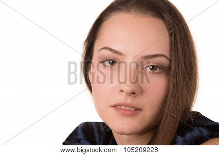 Beautiful young woman with drowsy glance