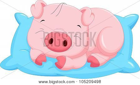 Cute cartoon baby pig sleeping