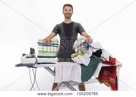 Satisfied Man Behind Ironing Board