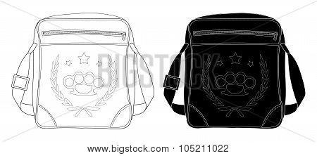 Urban teenager shoulder bag with print. Contour