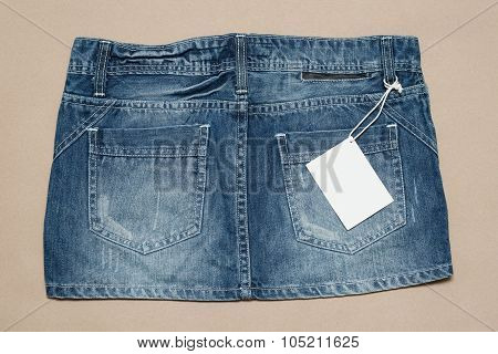 Sexy Jeans Skirt Pocket With Price Tag