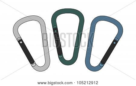 Carabiners set. Color