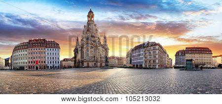 Panorama Of Dresden At Sunrise, Frauenkirche
