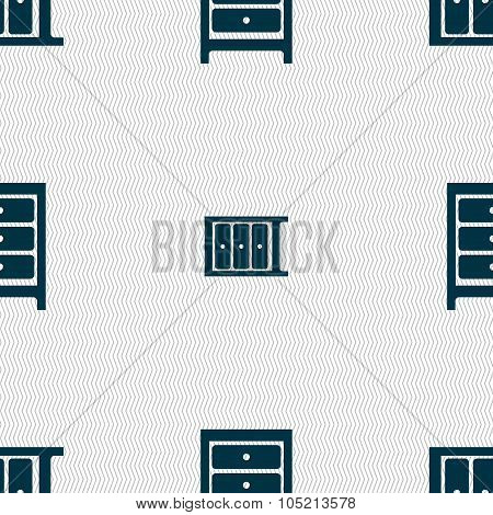 Nightstand Icon Sign. Seamless Abstract Background With Geometric Shapes.