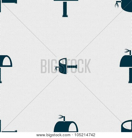 Mailbox Icon Sign. Seamless Abstract Background With Geometric Shapes. Vector