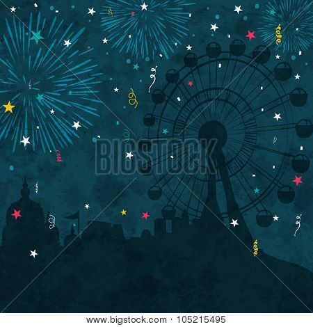 View of a fair with silhouette of temple and ferris wheel on firecrackers decorated grungy blue background for Indian Festival of Lights, Happy Diwali celebration.