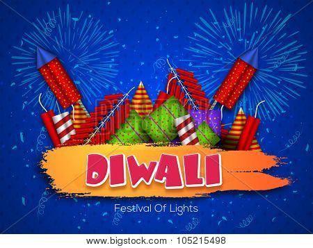 Indian Festival of Lights, Happy Diwali celebration with colourful firecrackers on blue fireworks background.