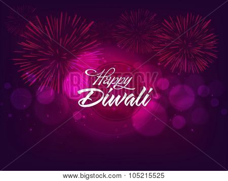 Indian Festival of Lights, Happy Diwali celebration with glossy fireworks on shiny purple background.