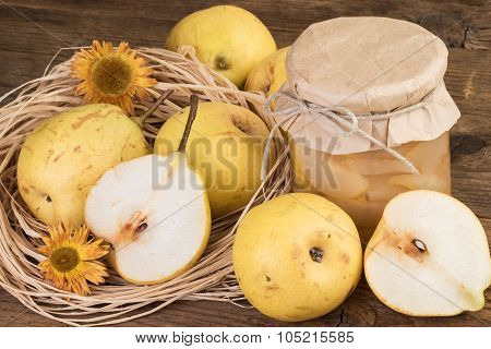 compote with ripe pears fruits