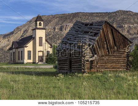 Old Emery Meeting House And Settler Cabin