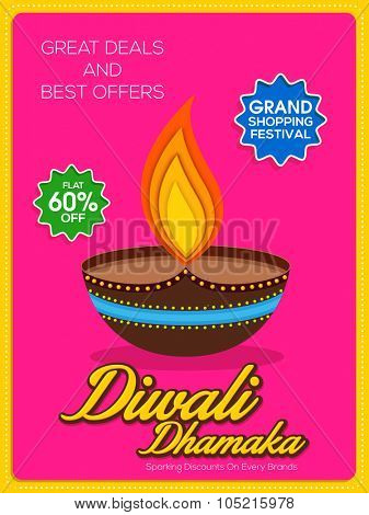 Stylish Diwali Dhamaka Poster, Banner or Flyer with best discount offer for Indian Festival of Lights, Happy Diwali celebration.