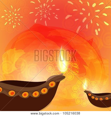Glossy illuminated oil lit lamps on floral decorated colourful fireworks background for Indian Festival of Lights, Happy Diwali celebration.