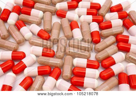 Pills on white background