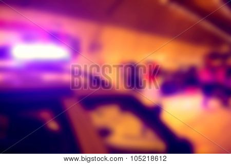 Abstract ambulance in an accident at nighttime