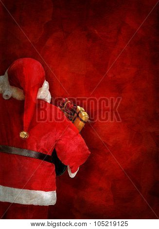 Artistic Greeting Card Or Poster Design With Santa Claus Doll