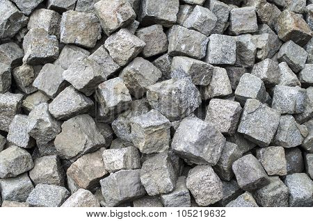 Heap Of Old Granite Used Paving Stones