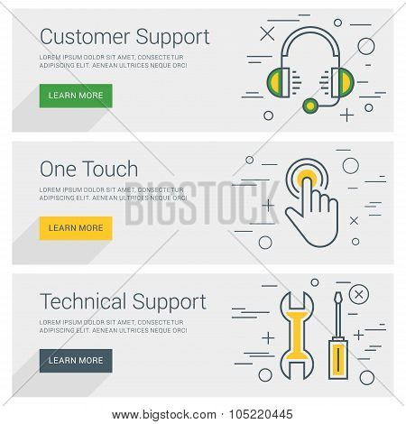 Customer Support. One Touch. Technical Support. Line Art Flat Design Illustration. Vector Web Banner