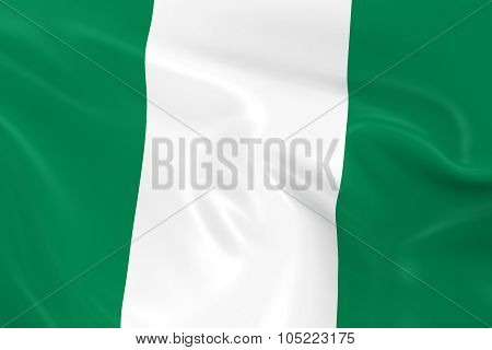 Waving Flag Of Nigeria - 3D Render Of The Nigerian Flag With Silky Texture