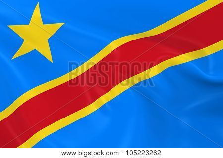 Waving Flag Of The Democratic Republic Of The Congo - 3D Render Of The Congolese Flag With Silky Tex