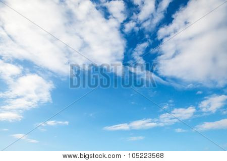 Blue Sky With Clouds, Natural Background Photo