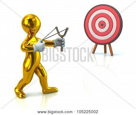 3d illustration. Golden man aiming slingshot at target isolated on white