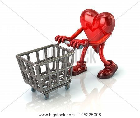 3d illustration. Red heart pushing an empty shopping cart isolated on white background