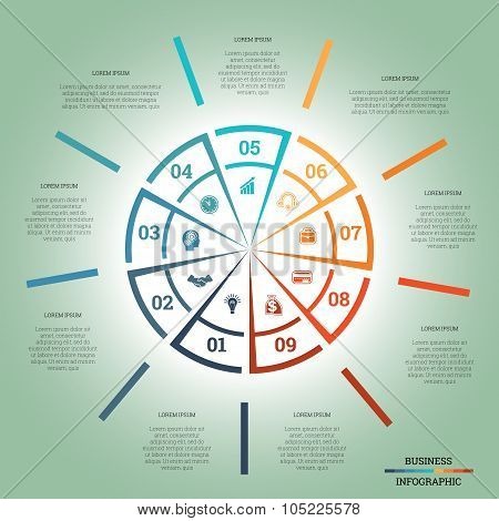 Infographic Pie Chart Template Colourful Circle Nine Positions