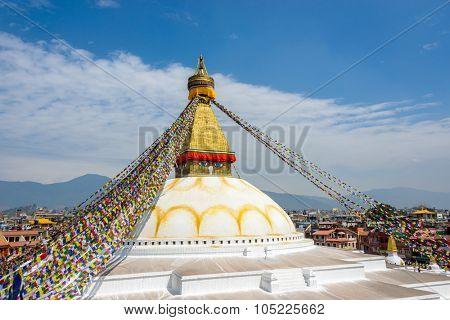 Boudhanath stupa in Kathmandu, Nepal (before the 2015 earthquakes)