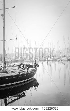 Boats Moored During A Dense Fog In The Marina At Lagos, Algarve, Portugal