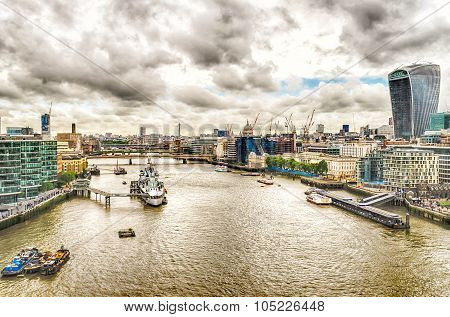 Aerial View Of The Thames River From Tower Bridge, London