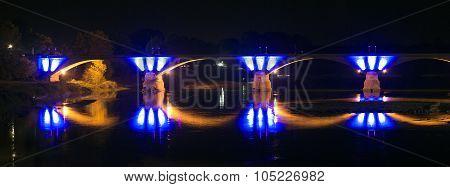 Pavia By Night: Illuminated Bridge