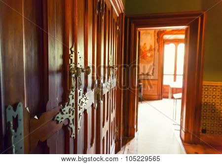 Corridor with luxurious wooden doors to the next room