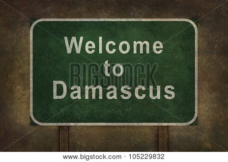 Welcome To Damascus Roadside Sign Illustration