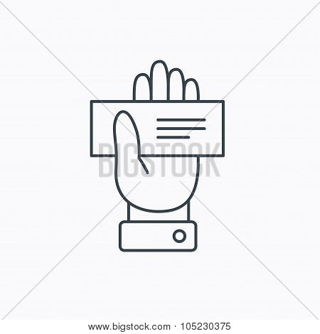 Cheque icon. Giving hand sign.