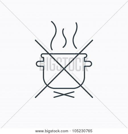 Boiling saucepan icon. Do not boil water sign.