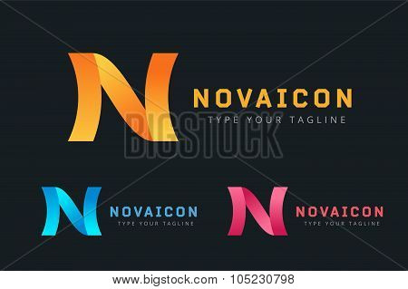 N logo icon template monogram