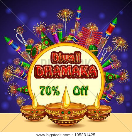 illustration of Happy Diwali promotion background with colorful firecracker and diya