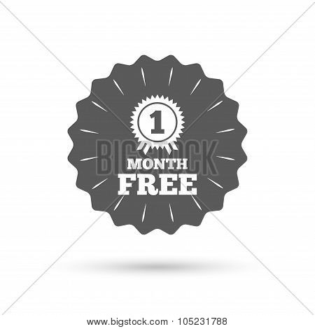 First month free sign icon. Special offer symbol