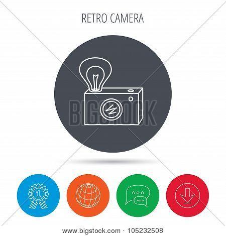 Retro photo camera icon. Photographer equipment.