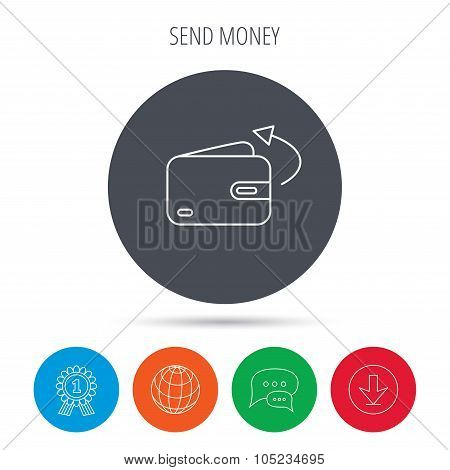 Send money icon. Cash wallet sign.