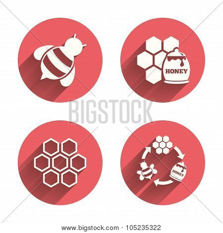 Honey icon. Honeycomb cells with bees symbol.