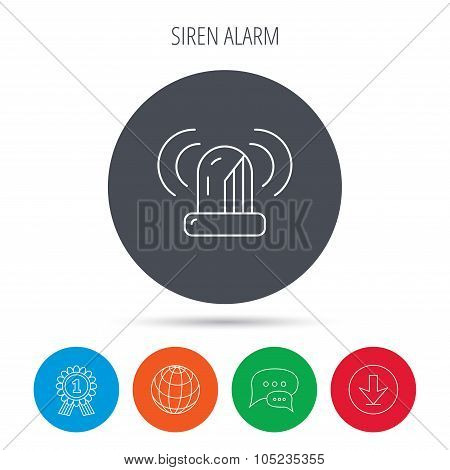 Siren alarm icon. Alert flashing light sign.