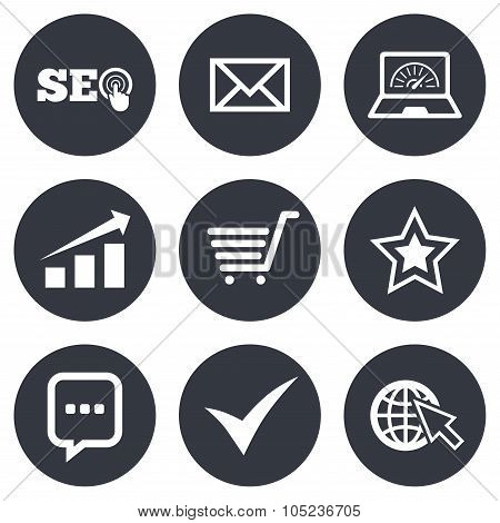 Internet, seo icons. Star, shopping signs.