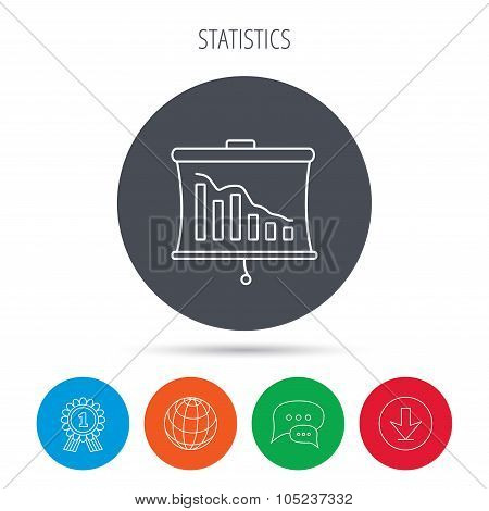 Statistic icon. Presentation board sign.