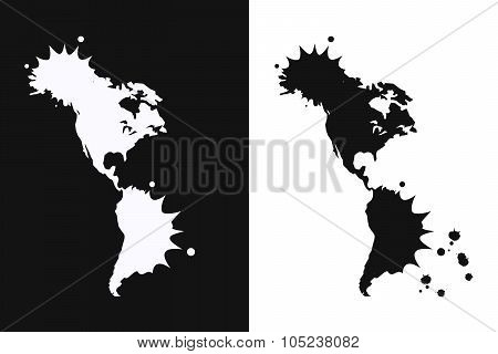 Americas Map Symbol On White And Black Background.