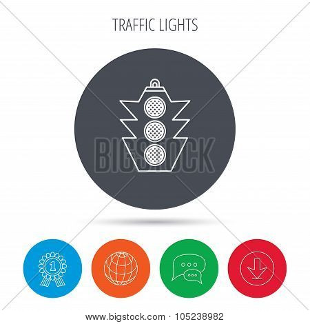 Traffic light icon. Safety direction regulate.
