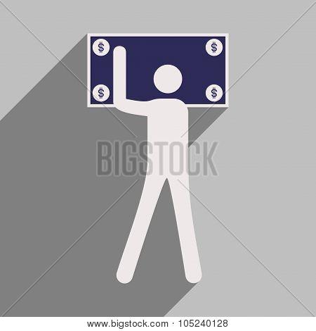Flat design modern vector illustration icon Stick Figure dollar