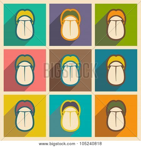 Icons of assembly human tongue in flat style