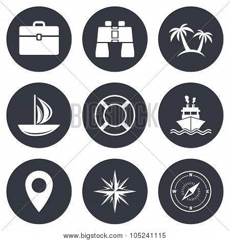 Cruise trip, ship and yacht icons. Travel signs.