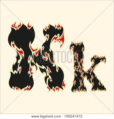 Fiery font Letter K Illustration on white background
